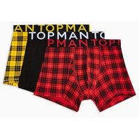 Mens Multi Red And Yellow Check Trunks 3 Pack*, Multi