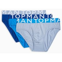 Mens Shades of Blue Briefs 3 Pack*, Blue