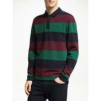 Fred Perry Long Sleeve Enlarged Stripe Polo Shirt, Navy