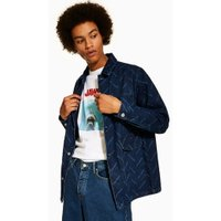 Mens Navy Denim Chore Jacket With Print, Navy