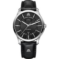Maurice Lacroix PT6358-SS001-330-1 Men's Pontos Automatic Day Date Leather Strap Watch, Black