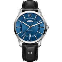 Maurice Lacroix PT6358-SS001-430-1 Men's Pontos Automatic Day Date Leather Strap Watch, Black/Blue