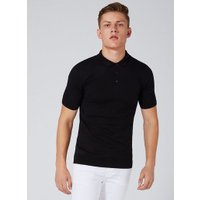 Mens Black Knitted Polo, Black