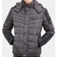 Rg 512  Quilted down jacket with hood  men's Jacket in Grey