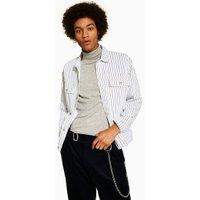 Mens White Pinstripe Denim Jacket, White