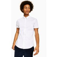 Mens White Stretch Skinny Fit Short Sleeve Shirt, White