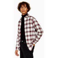 Mens Beige Stone, Navy and Red Slim Check Shirt, Beige