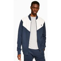 Mens Navy Jog On Panelled Zip Up Track Jacket*, Navy