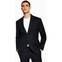 Mens Navy Textured Tailored Blazer, Navy