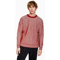 Mens Red Rust And White Plaited Jumper, Red