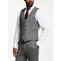 John Lewis & Partners Wool Check Tailored Waistcoat, Grey