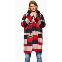 Mens Red Check Duffle Coat, Red