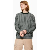 Mens Green And White Plaited Jumper, Green