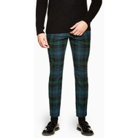 Mens Blue Check Skinny Trousers, Blue