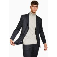 Mens Navy Pinstripe Tailored Blazer, Navy