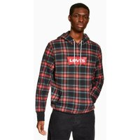 Mens LEVI'S Red Tartan Batwing Hoodie, Red