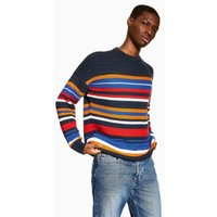 Mens Navy Zig Zag Stripe Jumper, Navy
