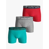 Bjrn Borg Seasonal Contrast Waistband Trunks, Pack of 3, Turquoise/Grey/Red