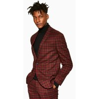 Mens Red Check Slim Blazer, Red