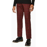Mens Red Check Slim Trousers, Red