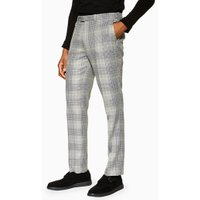 Mens Mid Grey Grey Check Slim Trousers, Mid Grey