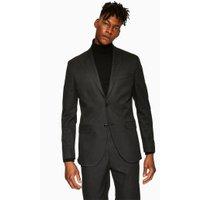 Mens Grey Charcoal Dogtooth Slim Fit Blazer, Grey