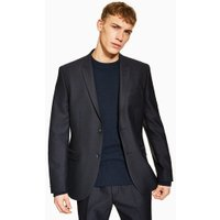 Mens Navy Check Slim Blazer, Navy