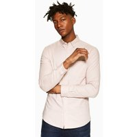 Mens Pink Stretch Skinny Oxford Shirt, Pink