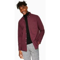 Mens Red Burgundy Twill Slim Shirt, Red