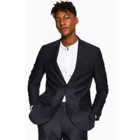 Mens Navy Check Skinny Blazer, Navy