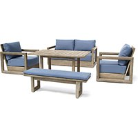 KETTLER Ezra 6-Seat Garden Table and Chairs Lounging Set, FSC-Certified (Acacia Wood)