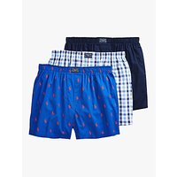 Ralph Lauren Gingham Logo Woven Cotton Boxers, Pack of 3, Blue