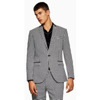 Mens Black White Houndstooth Skinny Blazer, Black
