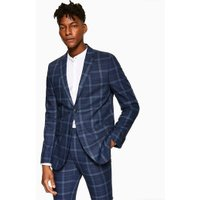 Mens Blue Check Skinny Blazer, Blue