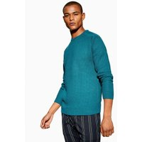Mens Blue Turquoise Textured Jumper, Blue