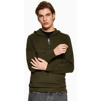 Mens Only & Sons Khaki Quarter Zip Pull Over Hoodie, Khaki