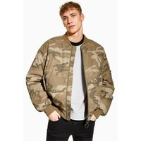 Mens Green Camouflage Print Bomber Jacket, Green