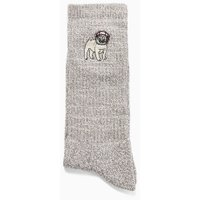 Mens Grey Pug Tube Socks, Grey