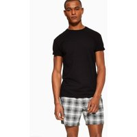 Mens Black And White Checked Shorts, Black