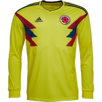 adidas Mens FCF Colombia Long Sleeve Home Shirt Bright Yellow/Collegiate Navy