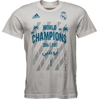 adidas Mens RMCF Real Madrid World Champion 17 T-Shirt White