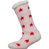 Brave Soul Womens Stars Sherpa Lined Bed Socks Pink/Red/Cream