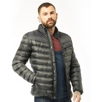 Crosshatch Mens Chankford Quilted Padded Zip Thru Jacket Black