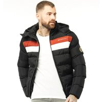 Crosshatch Mens Waze Padded Hooded Jacket Black
