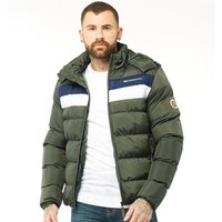 Crosshatch Mens Waze Padded Hooded Jacket Forest Night