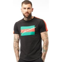Closure London Mens 3 Striped Graphic T-Shirt Black/Red