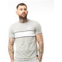 Closure London Mens Contrast Piped T-Shirt Grey Marl/White