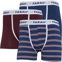 FARAH Mens Byrne Three Pack Boxers Navy/Stripe/Red