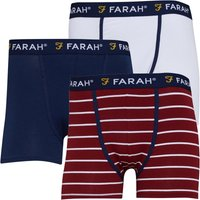 FARAH Mens Purvis Three Pack Boxers White/Red Stripe/Navy