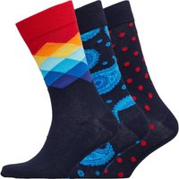 Happy Socks Mens Three Pack Socks Blue/Red/Polka Dot/Blue Paisley
